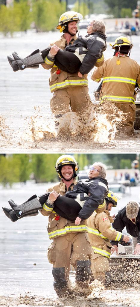firefighter carrying grandma