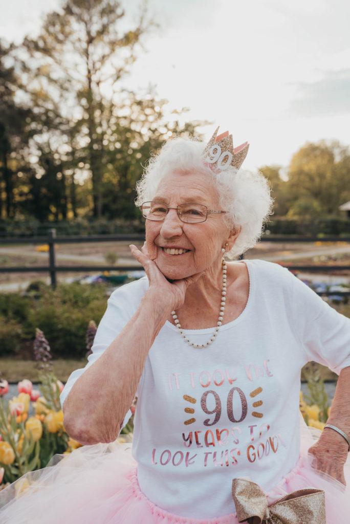 grandma posing for camera