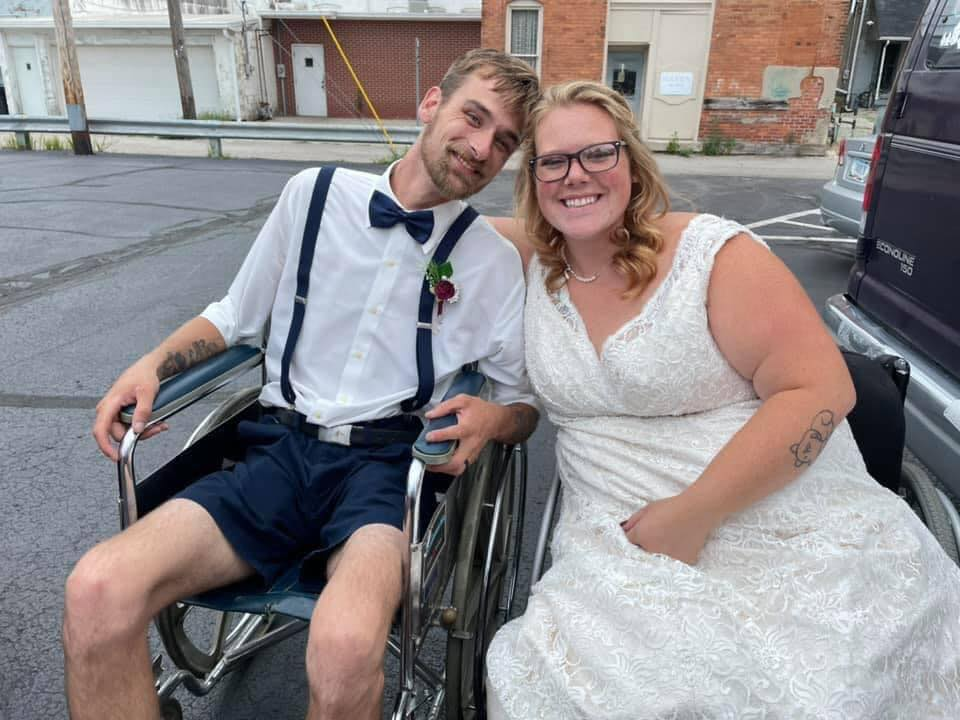 groom and bride in wheelchairs