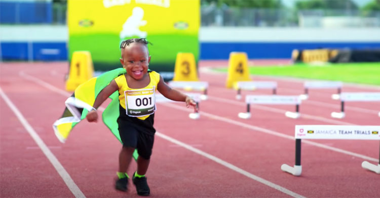 Toddler running on a track