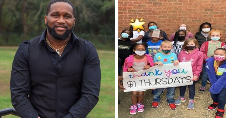 smiling man beside picture of kids holding sign that says thank you $1 thursdays