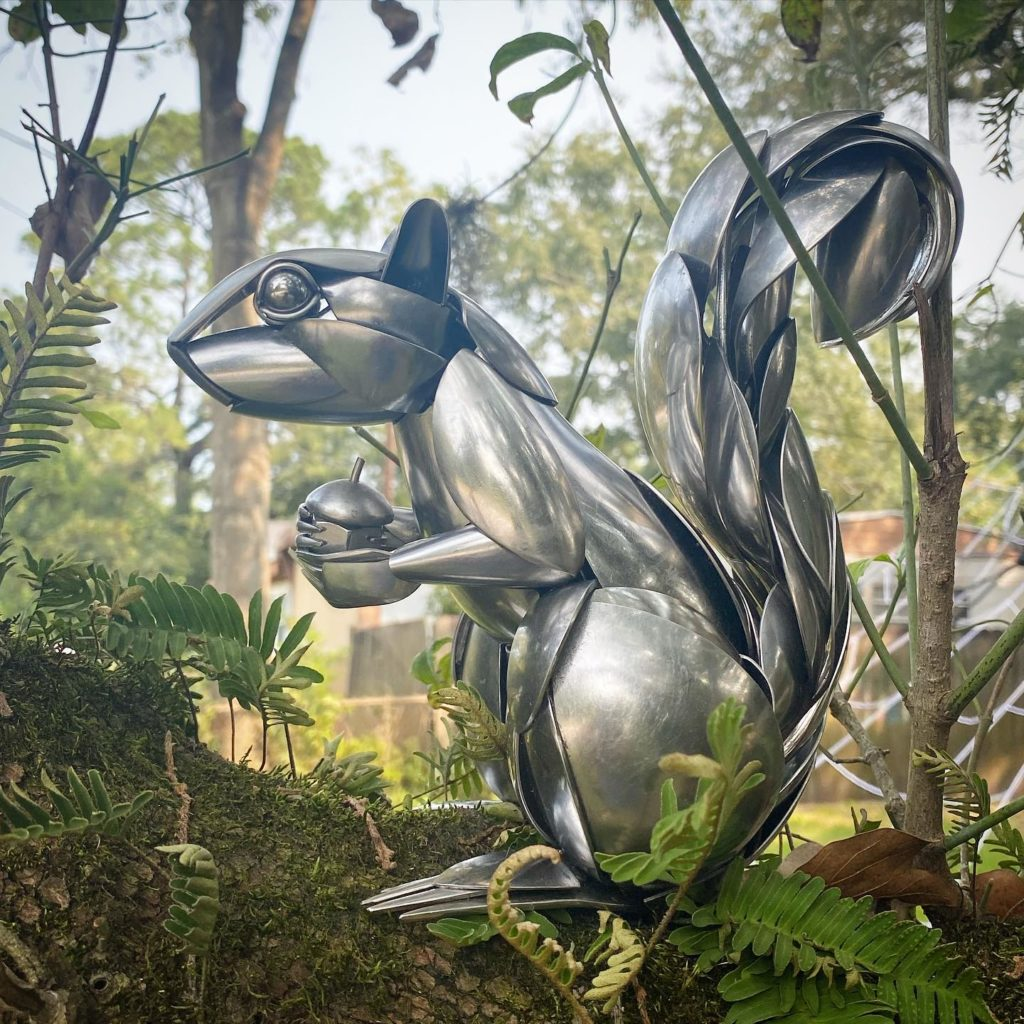 squirrel sculpture outside