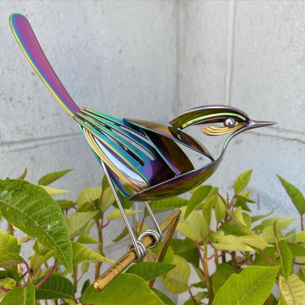 colorful bird sculpture