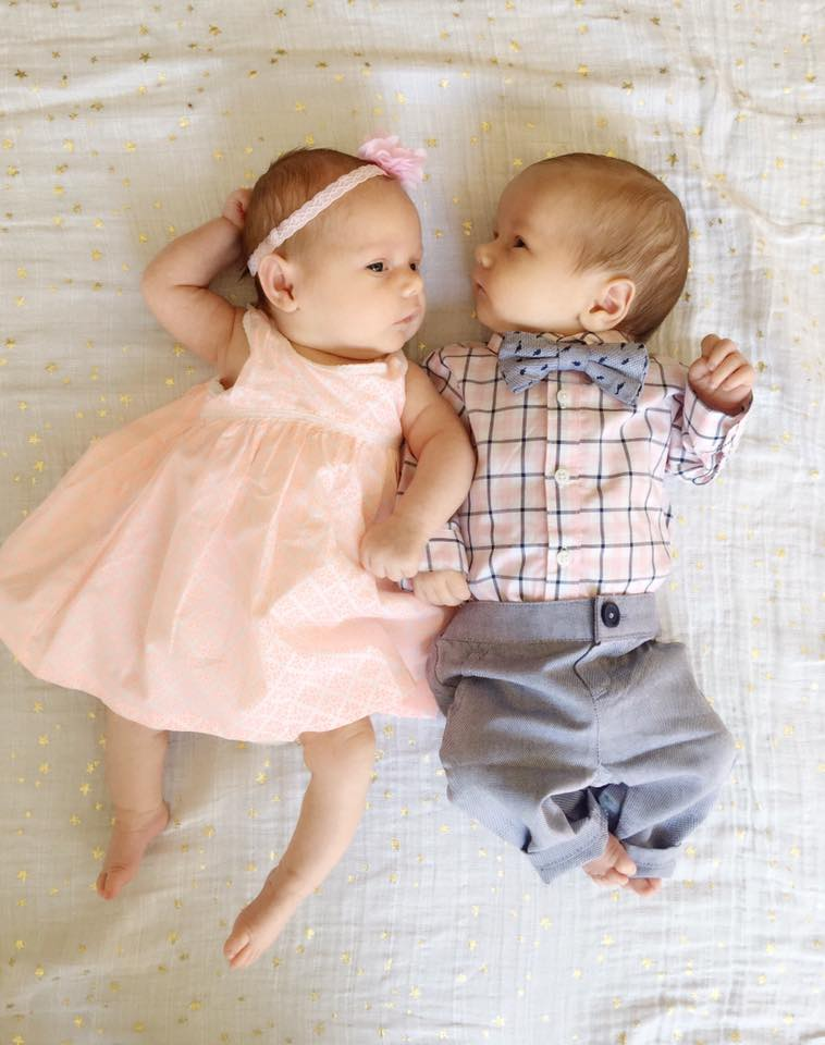 twin babies dressed up