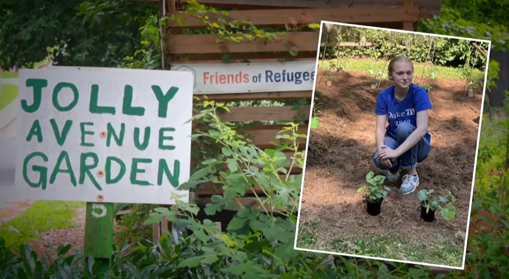 teen crouching in front of plants at jolly avenue garden