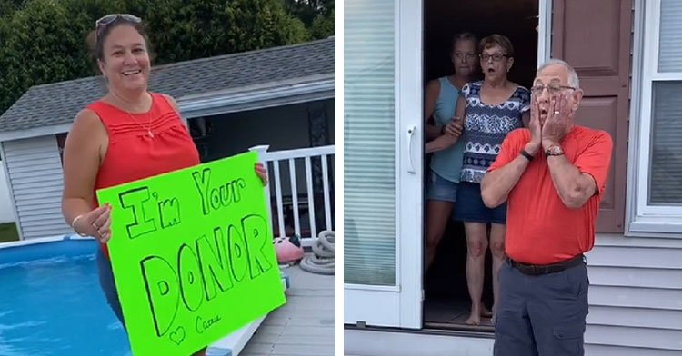 """woman holding sign saying """"i'm your donor"""" while man gasps"""