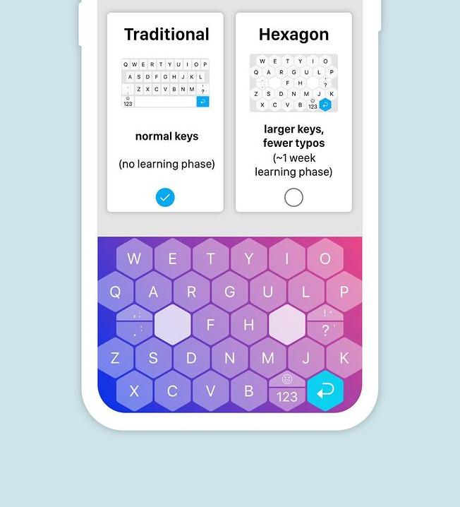 hexagonal keyboard on phone