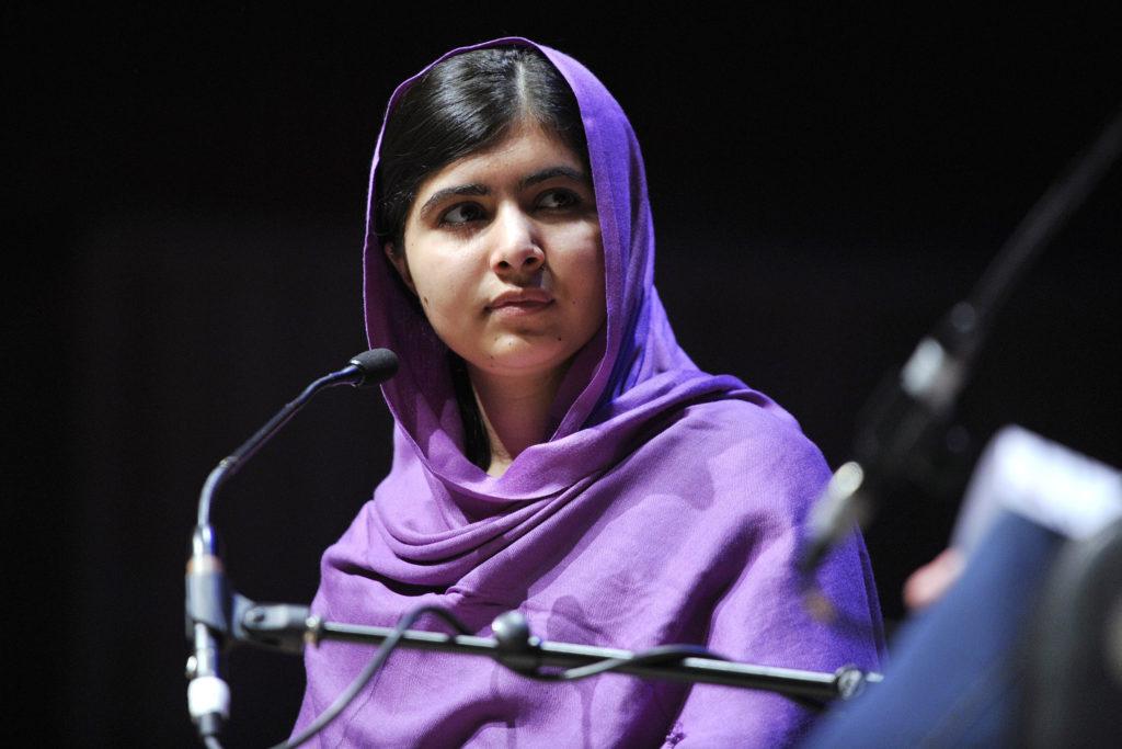 Malala Yousafzai wearing purple