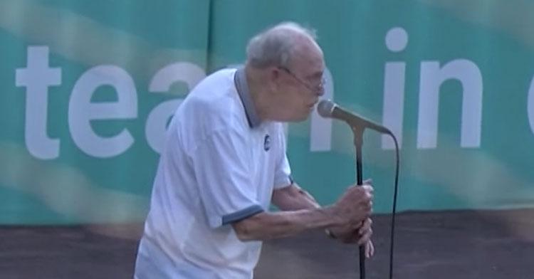 96-year-old singing national anthem
