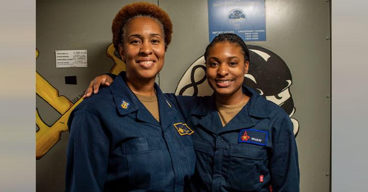 mom and daughter on same navy ship