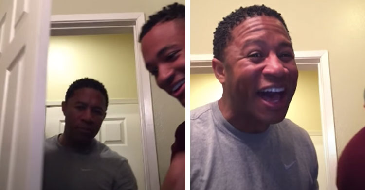 dad walks into room and then his face lights up