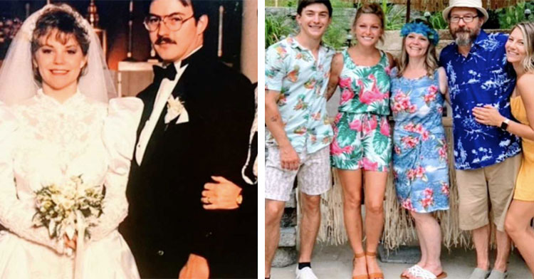 old wedding photo next to family of five at casual backyard wedding