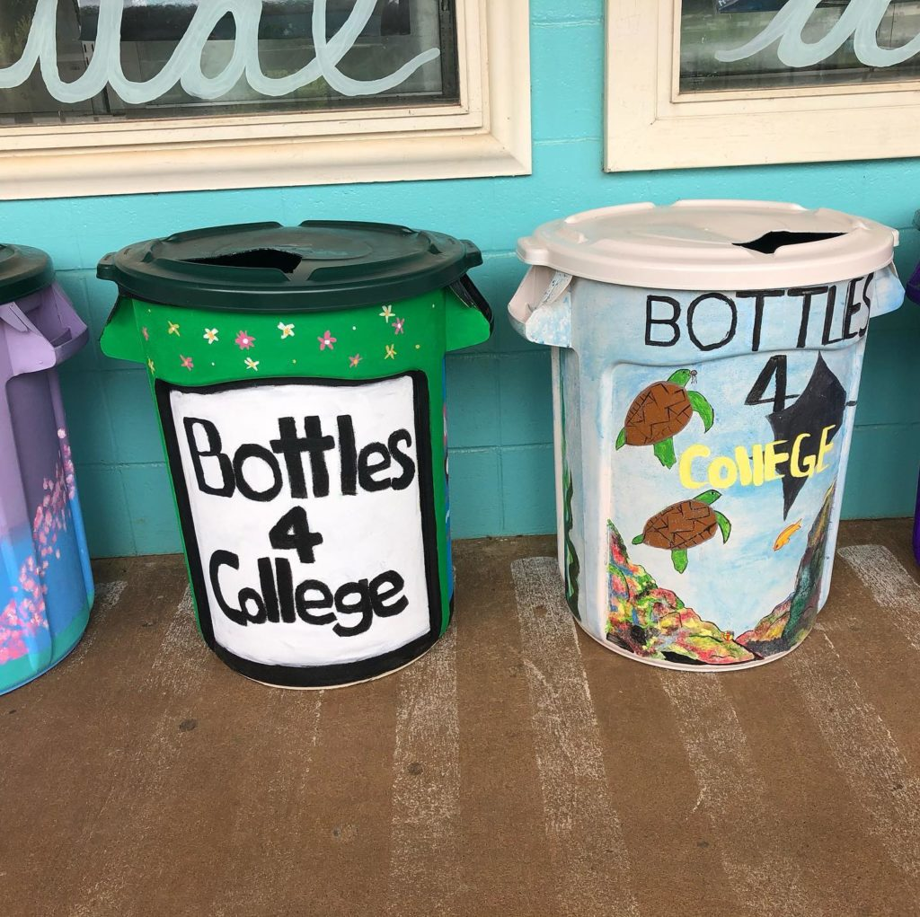 decorated and colorful recycling bins