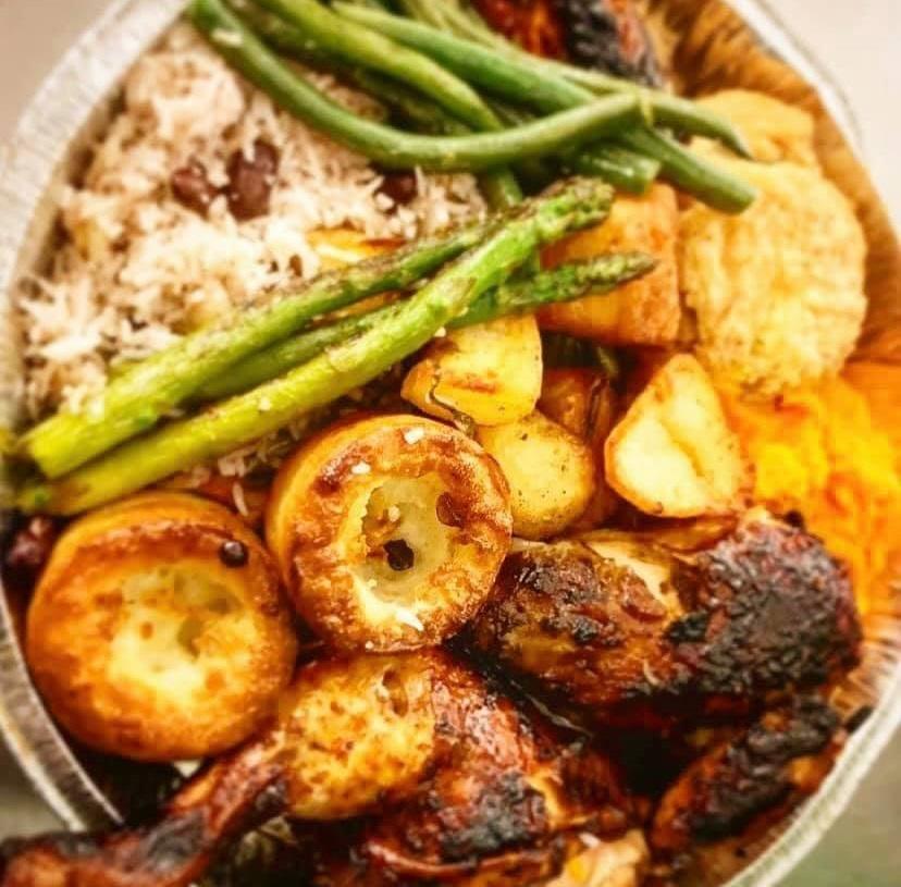 chicken, rice, and veggie bowl