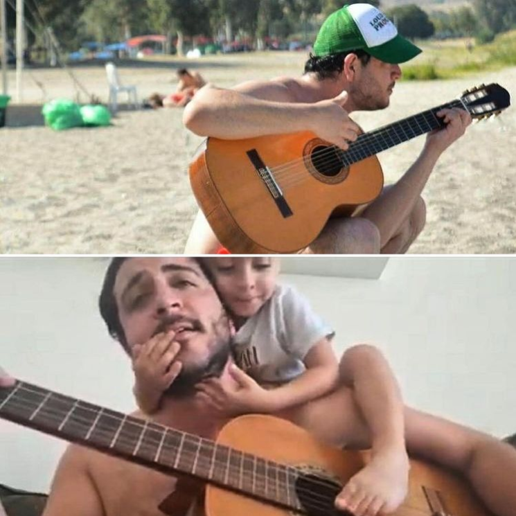 man playing guitar and man playing guitar with child climbing on him
