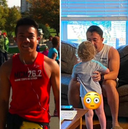 marathon runner vs same man holding toddler with no pants on