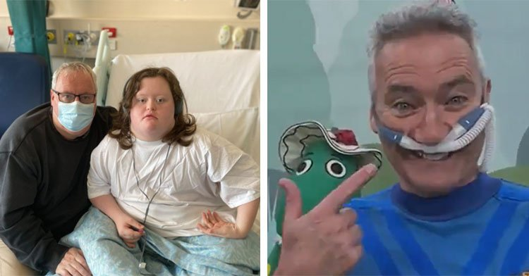 patient in hospital bed next to blue wiggle wearing nasal breathing tube