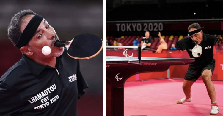table tennis player with no arms