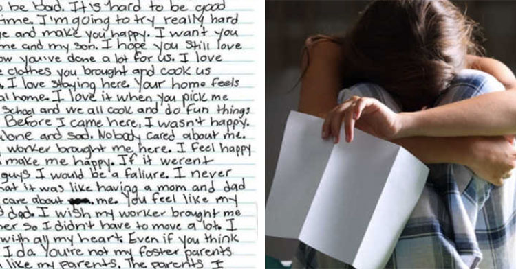 teen's letter to foster parents next to teen holding paper with head on her knees