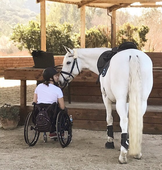 woman in wheelchair kissing white horse on the nose