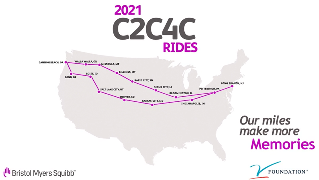 coast to coast ride for cancer map of the U.S.