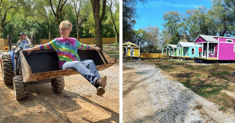 woman sitting in tractor bucket next to tiny home village