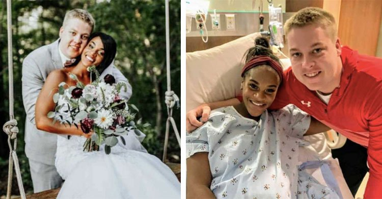 husband holding bride on swing next to woman in hospital bed with man beside her