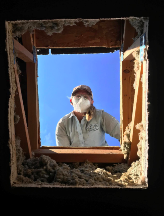woman wearing face mask looking down from roof