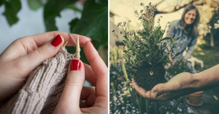 knitting and gardening