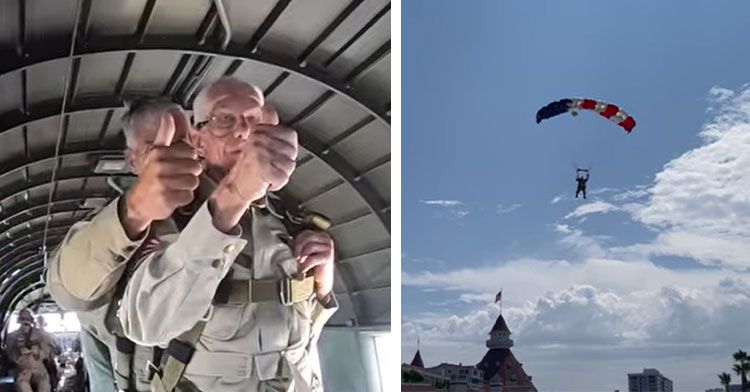 100 year old preparing to jump out of plane and 100-year-old in the air under parachute