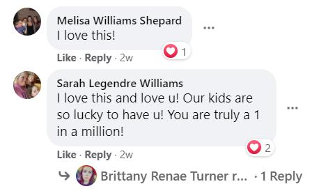 screenshot of facebook comments