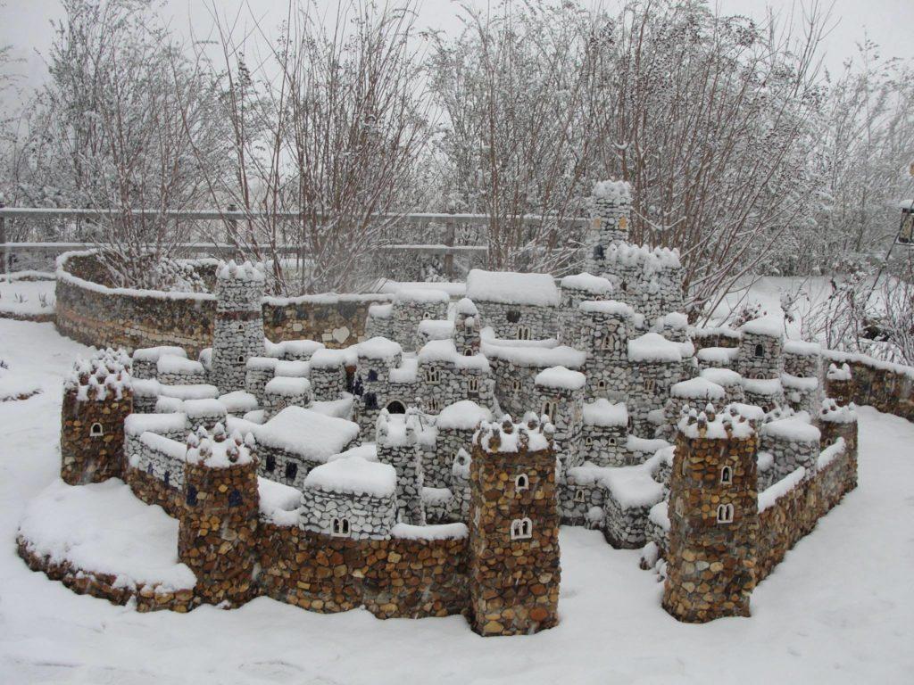 snow-covered pebble village