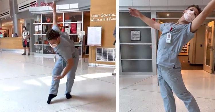 health care worker doing ballet in hospital