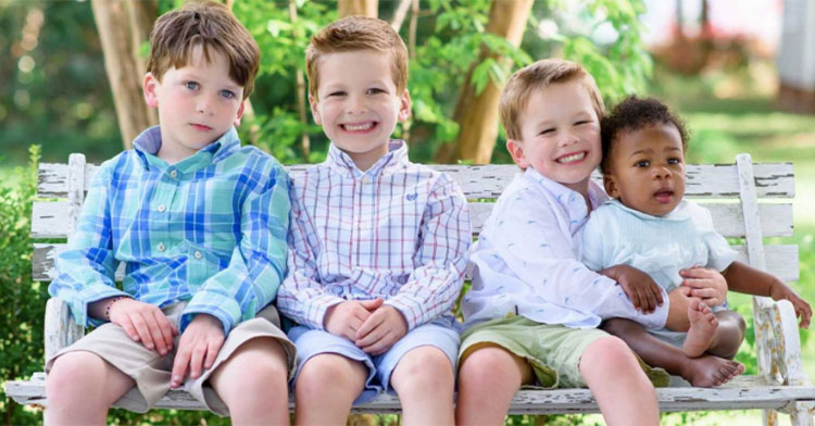 four brothers on bench