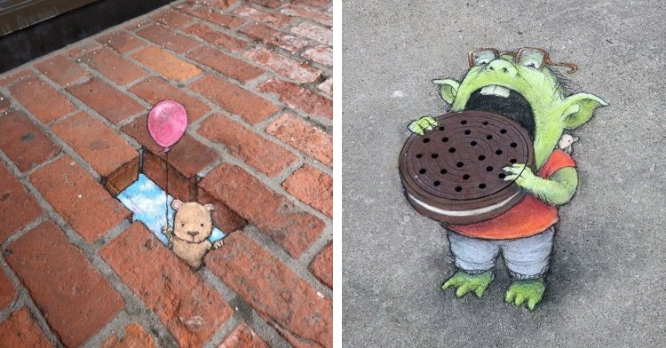 a photo of chalk art featuring a small animal holding a balloon from inside a brick next to a photo of chalk art featuring a green monster eating a manhole cover like a cookie