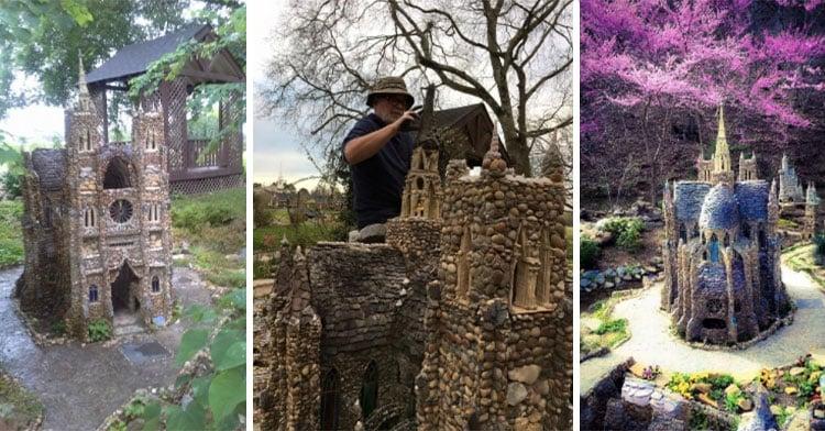 man building rock garden