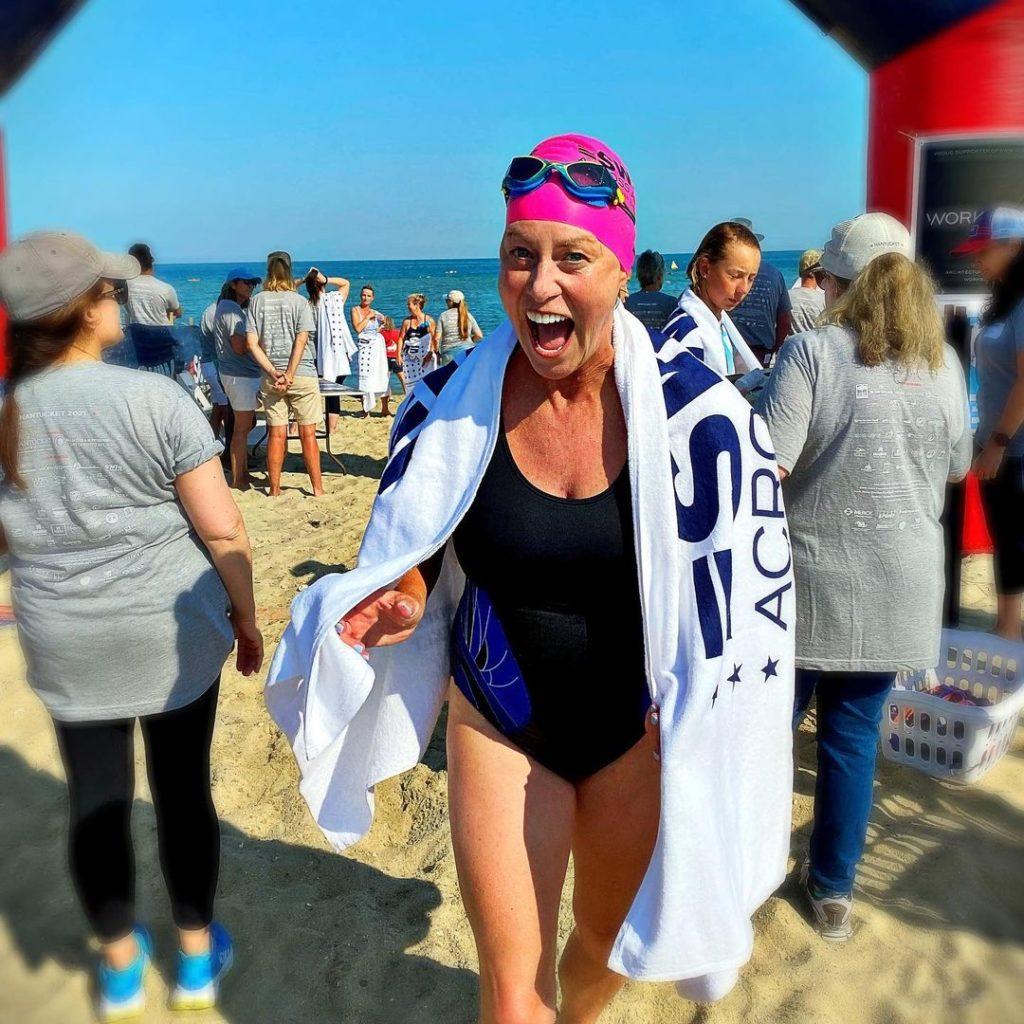 Vicki Bunke swimming for Swim Across America