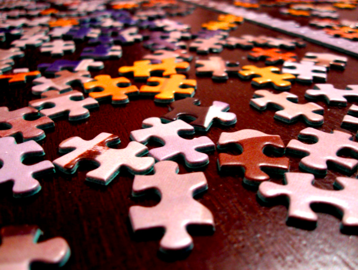 puzzle pieces on table