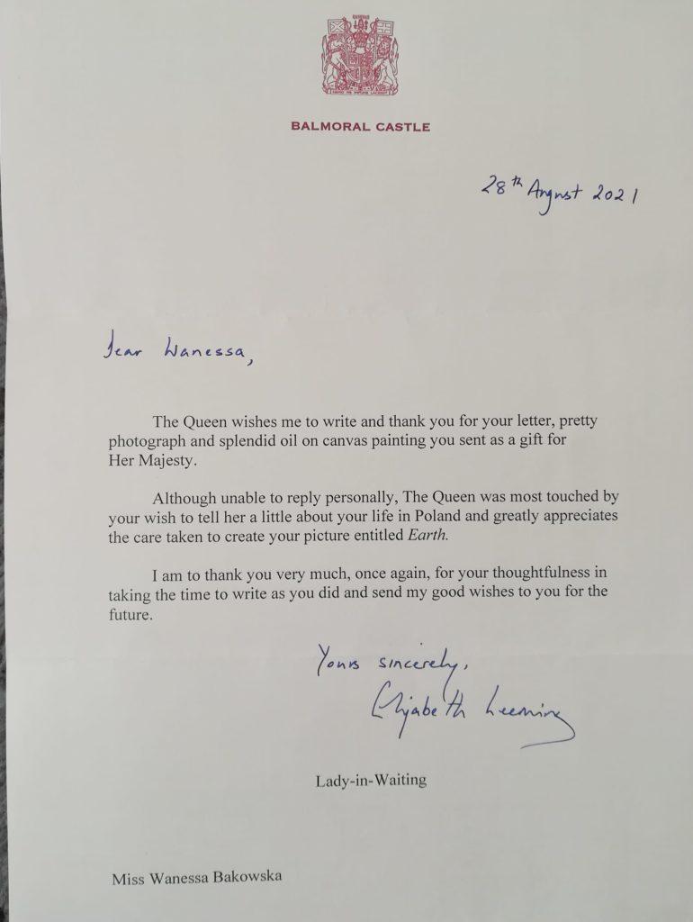 letter from Queen Elizabeth II to Wanessa