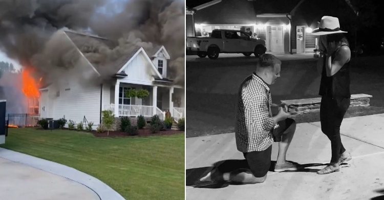 burning home next to man proposing to woman