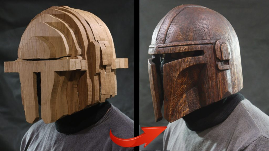 wooden mandalorian helmet almost complete and then completed
