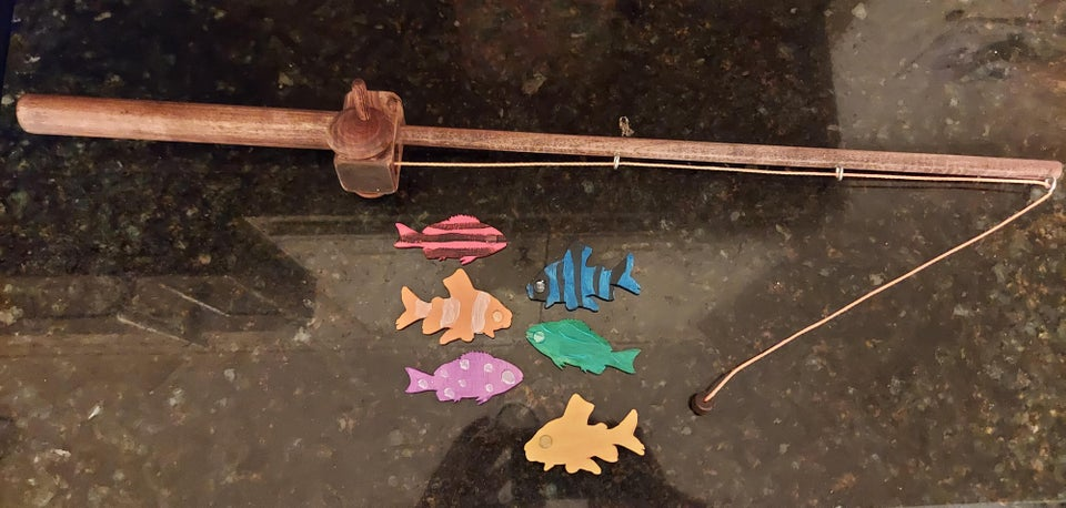 wooden toy fishing pole with magnetic colorful fish
