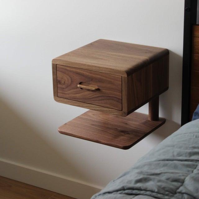 floating wooden bedside table