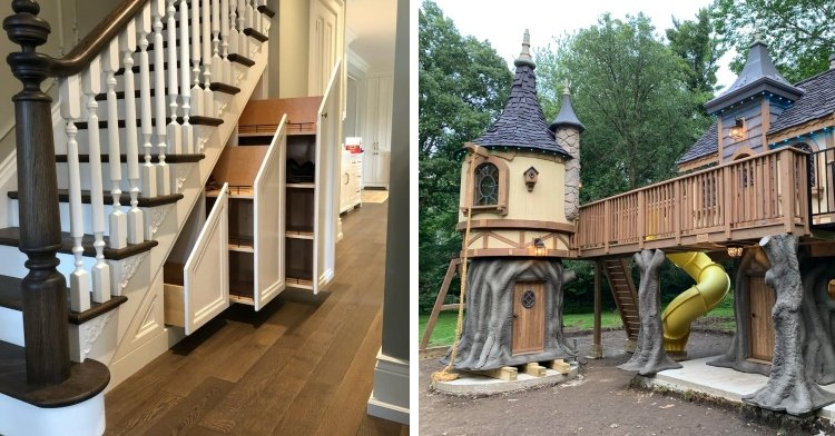 brown and white staircase with three hidden cabinets underneath and a rapunzel inspired children's wooden tower and cottage in a backyard