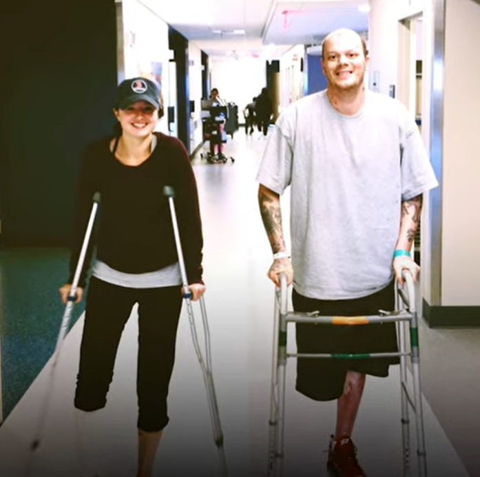 Jacqui Webb and Paul Norden in hospital