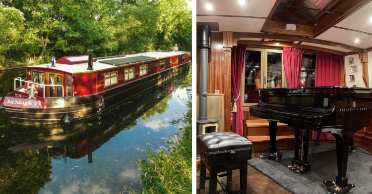 red boat with the name rachmaninovon on it going down a canal and the inside of a canal boat with a grand piano and cushioned seat