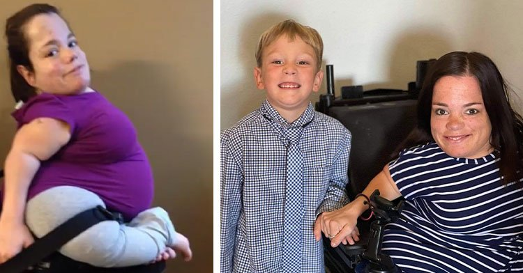 mom in wheelchair next to mom with 4-year-old son