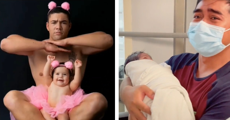 dad and daughter posing in pink tutus and a crying dad wearing a mask and holding his newborn