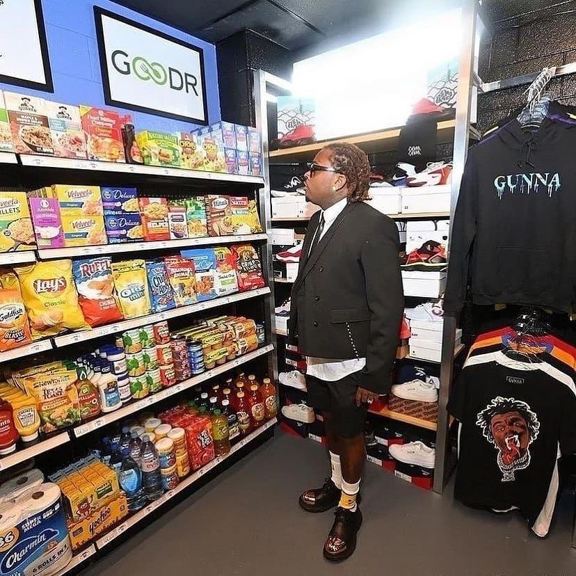 Gunna at Gunna's Drip Closet and Goodr Grocery Store