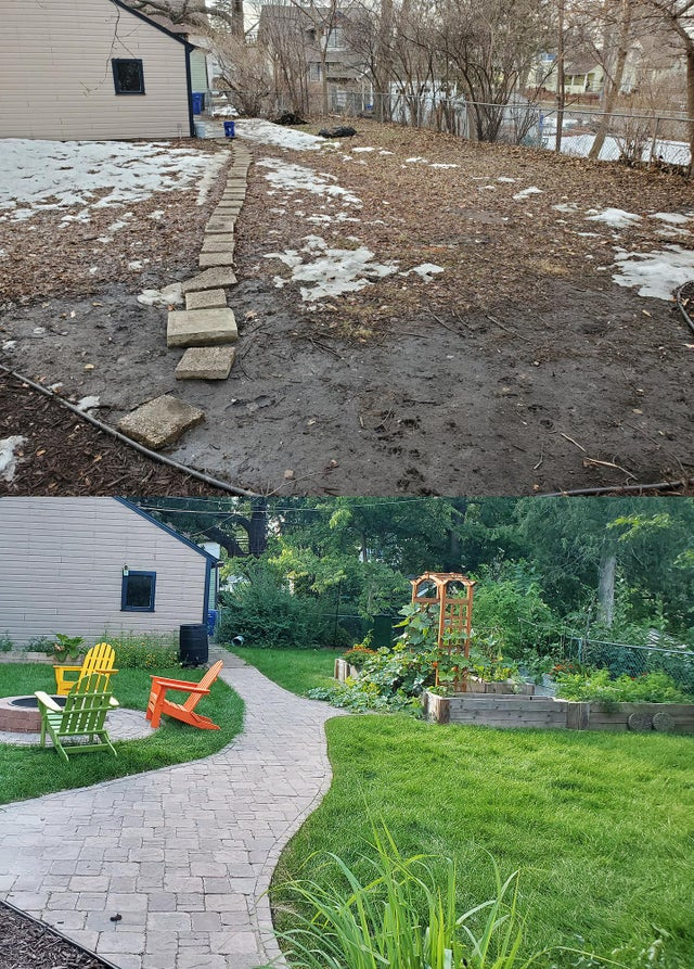 before and after of winter yard transformed into summer garden